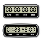 Black LCD counter - countdown timer — Stock Vector