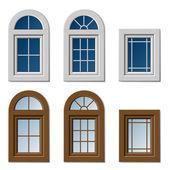Plastic windows white brown — Stock Vector