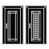 Antique wooden door black icons — Stock vektor