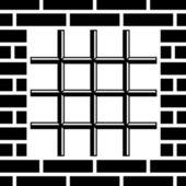 Rošt vězení okna černým symbolem — Stock vektor