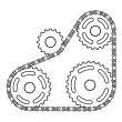 Industrial chain sprocket silhouette — Stock Vector