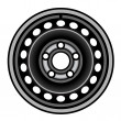 Stock Vector: Black car iron wheel rim
