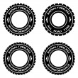 Stock Vector: Radial tubeless hi performance tyre symbols