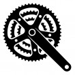 Bicycle cogwheel sprocket crankset symbol — Stock Vector