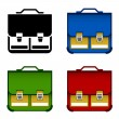 School bag icons — Stock Vector