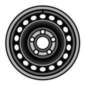 Cerchione di ferro nero auto — Vettoriale Stock