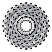 Bicycle gear cogwheel sprocket icon — Stock Vector
