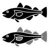 Black cod fish silhouettes — Stock Vector