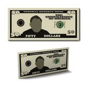 Elli dolar kağıt fatura banknot — Stok Vektör