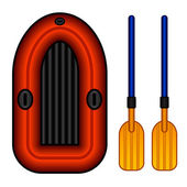Inflatable boat with paddles — Stock Vector