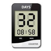 Black white LCD counter - countdown timer — Stock Vector