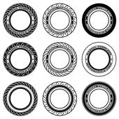 Radial tubeless motorcycle tyre symbols — Stock Vector