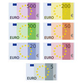 Euro paper bill banknotes — Stock Vector
