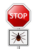 Ixodes ricinus tick road stop sign — Stock Vector