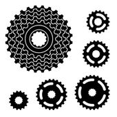 Bicycle gear cogwheel sprocket symbols — Stock Vector