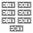 Stock Vector: Fictional black white dollar banknotes