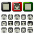LCD display pixel faces — Stock Vector