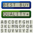 Stock Vector: LCD display pixel font - uppercase characters