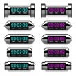 Stock Vector: Chrome glowing digital counter