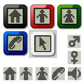 LCD display pixel symbols — Stock vektor