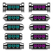 Chrome glowing digital counter — Stock Vector