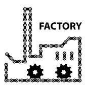 Factory industry chain sprocket silhouette — Stock Vector