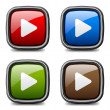 Glossy media play buttons — Stock Vector