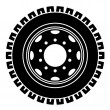 Stock Vector: Truck wheel black white symbol