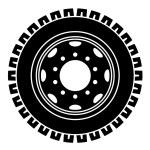 Truck wheel black white symbol — Stock Vector