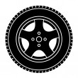 Stock Vector: Car wheel black white symbol