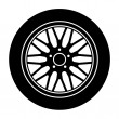Stock Vector: Car aluminum wheel black white symbol
