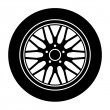 Car aluminum wheel black white symbol — Stock Vector