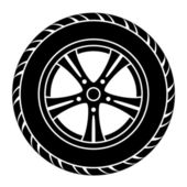 Car wheel black white symbol — Stock Vector