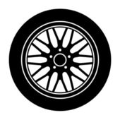 Car aluminum wheel black white symbol — Stock Vector
