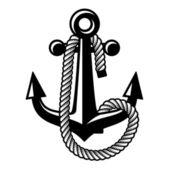 Anchor with rope black symbol — Stockvektor