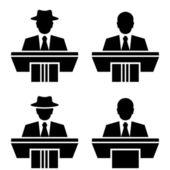 Orator speaker black symbols — Stock Vector
