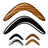 Wooden australian boomerang icons — Stock Vector