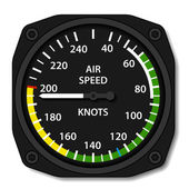 Aviation aircraft airspeed indicator — Stock Vector