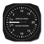 Aviation variometer vertical speed indicator — Stock Vector