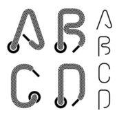 Shoe lace alphabet letters A B C D — Stock Vector