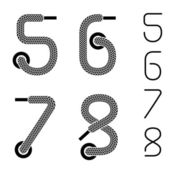 Shoe lace numbers 5 6 7 8 — Stock Vector
