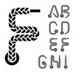 Shoe lace alphabet letters part 1 — Stock Vector #49683011