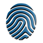 3D drawing fingerprint symbol — Stock Vector