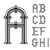 Chrome pipe alphabet letters part 1 — Stock Vector