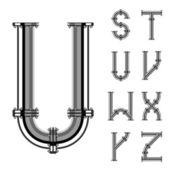 Chrome pipe alphabet letters part 3 — Stock Vector