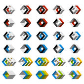 Abstract 3D square icons — Stok Vektör