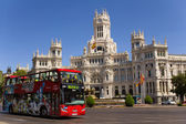 Madrid City Hall with a tourist bus — Stock Photo
