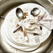 Stock Photo: Spoons and fork on dirty dishes in kitchen sink