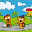 Stock Vector: Cubs go to school