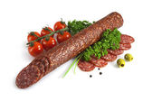 Sausage with cherry tomatoes and herbs — Foto de Stock